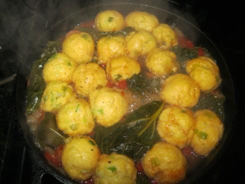 Cornmeal Dumplings Simmering